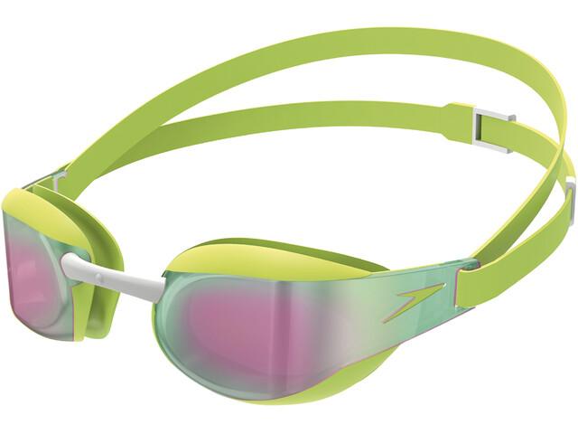 speedo Elite Mirror Goggles Kids, green/red